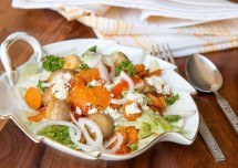 Roasted Vegetable and Oat Salad with Feta Cheese Recipe